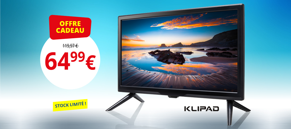 OFFRE CADEAU: a TV LED Kilpad. 64,99 euros. Stock limité!