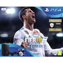 Pack PS4 Slim console + spel Fifa 18 + 2 controllers